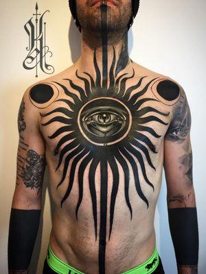 Neotraditional tattoo by Kat Abdy on Jorge Becerra #KatAbdy #neotraditional #fineart #Artnouveau #detailed #painterly #portraits #lady #magic #esoteric #chest #eye #blackwork #darkart #eye #chest #stomach