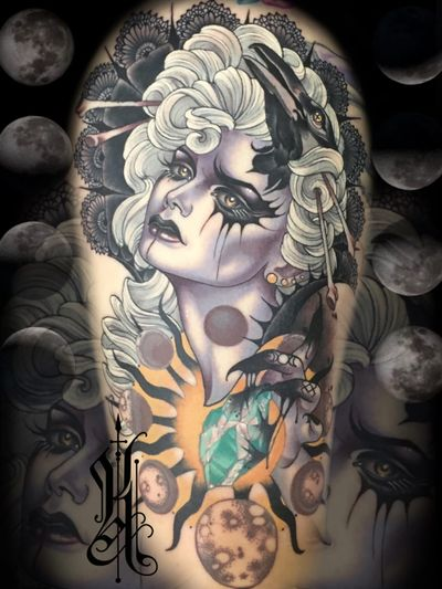 Neotraditional tattoo by Kat Abdy #KatAbdy #neotraditional #fineart #Artnouveau #detailed #painterly #portraits #lady #magic #esoteric #leg #arm #moon #gem #stone #crow #lace