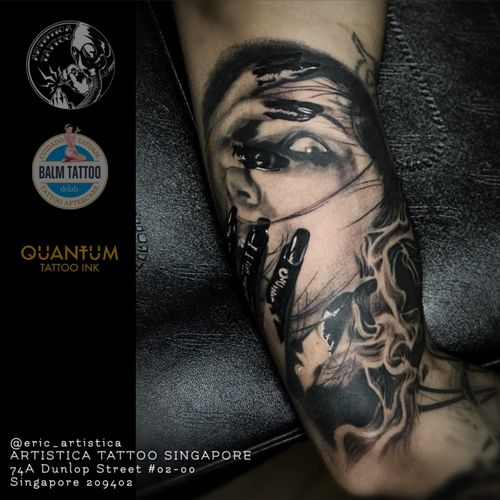 Done with this piece on the inner arm. Design given by my client. Would like to do more like this kind. 😁🙏🏻 #tattoo #tattoos #tattooed #tattoolover #ilovetattoos #sgtattoo #singaporetattoo #bodyart #nopainnogain #blackandgreytattoo #creepy #horror #artistica #artisticasingapore #artisticatattoo #ericartistica #ericlohtattoos #balmtattoo #balmtattoosg #balmtattooteamsg #balmtattooartist #balmtattoosingapore #dragonbloodbutter #cheyennetattooequipment #nedzrotary #criticaltattoosupply