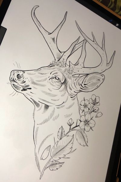 One I'd really like to do!🦌🌸 This one would work best on a leg or side, but contact us with size and placement details to see what we can do for you. 🙏 . . . . . . . . . . #tattoo #tattooed #stag #deer #stagtattoo #deertattoo #nature #naturetattoo #tattooideas #tattooflash #neotraditionaltattoo #neotraditional #neotradtattoo #animal #animaltattoo #illustration #finelinetattoo #norwich #norwichtattoo #norwichtattooist #rileyryutattoo