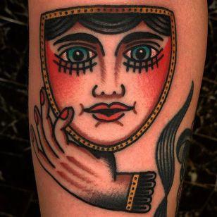 Tattoo by Marcus Norrild #MarcusNorrild #portrait #ladyhead #traditional #mask #hand