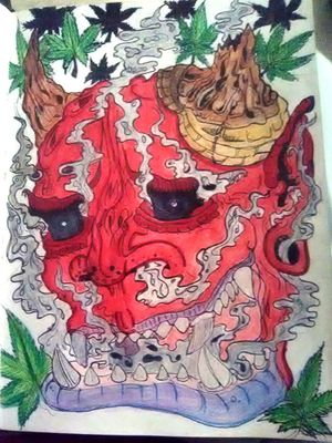 #JapaneseTattoos #japanese. #japan #onitattoo #onidemon #onimask #marijuana #weed #pot #ganja #smoke #demon #stonertattoo