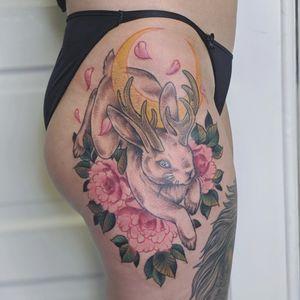 Jackalope! #tattoo #tattoolife #tattooart #saniderm #envyneedles #rosewatertattoo #tattoos #tattooartist #art #ink #inked #bunnytattoos #inkedmag #portland #portlandtattooers #portlandtattoo #pdx #pdxartists #pdxtattooers #pdxtattoo #tattooed #tatsoul #fusiontattooink #fkirons #bestink #jackalope #tattoosnob #stencilstuff #thightattoos #eternalink