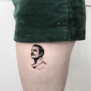 Freddie Mercury tiny. I now live in Dallas TX and tattooing at Third Eye Gallery. Please email bigbrickrick@gmail.com for appointments! Thank you!