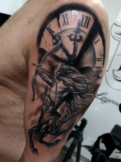 °Sagittarius° . . . #tattoo #tattooed #tattooist #tattooer #tattooartist #realistictattoos #blackandgreytattoos #inked #ink #zodiac #tenerife #spain #españa #madrid #barcelona
