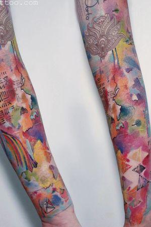 •continents•Bartt• High on art studio London #watercolour #sleeve #colourtattoo #tattoo #ink #abstract •contact: highonartstudio@gmail.com