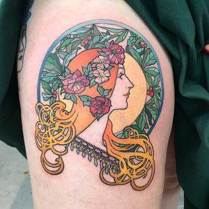 Art Nouveau tattoo by Muk Jung #MukJung #artnouveau #ArtNouveautattoo #artnouveuatattoos #fineart #nature #portrait #lady #art #mucha #illustrative #painterly #leg #color