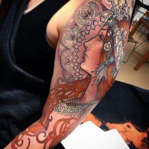 Art Nouveau tattoo by Miss Juliet #MissJuliet #artnouveau #ArtNouveautattoo #artnouveuatattoos #fineart #nature #portrait #lady #art #illustrative #painterly #mucha #color #wip #arm