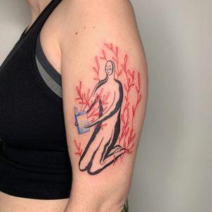 Illustrative tattoo by Ori Vishnia #OriVishnia #illustrative #abstract #expressionism #linework #fineline #color #sketch #fineart