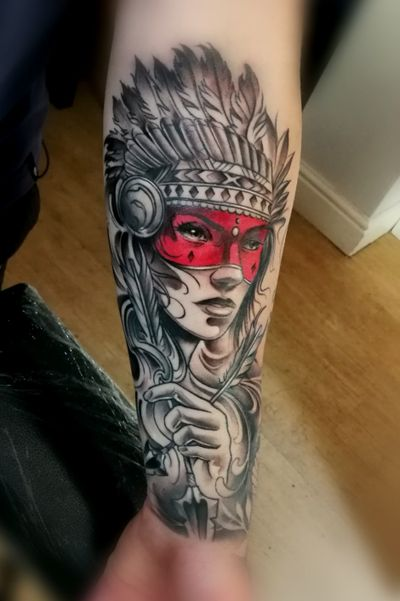 Today's final session with @jacek_0911 #neotraditional #warrior #native #american done with #cheyenne #dynamicink #worldfamous #kwadronneedles #davincineedlecartridges #bournemouth