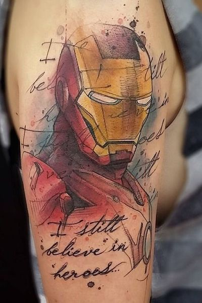 Ironman!♥️ #ironman #marvel #avengers #ironmantattoo #marveltheavengers #armtattoo #tonystark