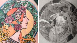 Art nouveau tattoo on the left by Muk Jung and art nouveau tattoo on the right by ColdGray #ColdGray #MukJung #artnouveau #ArtNouveautattoo #artnouveuatattoos #fineart #nature #portrait #lady #art