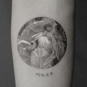 Art Nouveau tattoo by ColdGray #ColdGray #artnouveau #ArtNouveautattoo #artnouveuatattoos #fineart #nature #portrait #lady #art #illustrative #painterly #mucha #mars #blackandgrey #arm