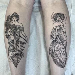 Art Nouveau tattoo by lixi_sickandnormal #lixi_sickandnormal #artnouveau #ArtNouveautattoo #artnouveuatattoos #fineart #nature #portrait #lady #art #illustrative #painterly #blackwork #mucha