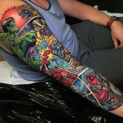 Comic books rule! #comicbooktattoo #tattoosleeve #comicbooksleeve #marveltattoo #avengerstattoo #marveltheavengers #stanlee #comicbook #deadpool #thehulk #thanos #ironman