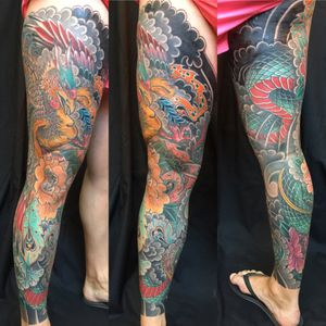 Phoenix leg sleeve #japanese #irezumi #linktattoo #melbourne
