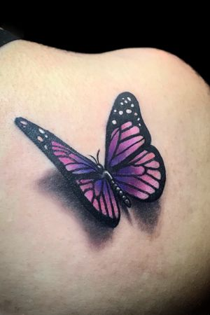 3D Color butterfly tattoo by Kimmy Tan