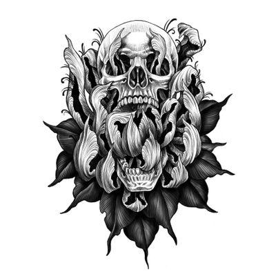 Available flash. #blackwork #blackandgrey #linework #skull #chrysanthemum #flower #drawing #design #illustration #illsontattoo #illson