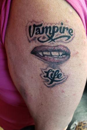 vampire life #etheartist #yeswork #tattoos #slanginink #spektraxion #empireink #hivecaps #LipTattoos