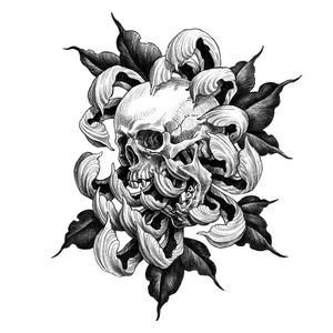 Available flash. #blackwork #linework #tattoodesign #blackandgrey #skull #chrysanthemum #drawing #illustration #illson #illsontattoo