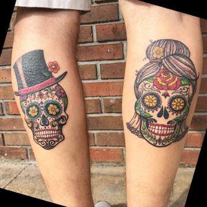 Bride and Groom sugar skulls!!! #sugarskulltattoo #skulltattoo #staugustinetattooartist #floridatattooartist