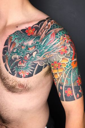 Dragon tradtional style. Client is 6ft 5inches tall has a love of horiyoshi111 styles as am I. #japanese #irezumi #linktattoo #melbourne