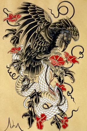 Crow and snake fight #japanese #irezumi #linktattoo #melbourne