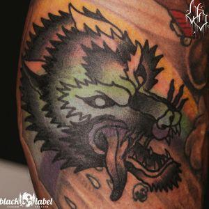 Blastöver wolf on my boy... and you shall call him Rainbow Wolf....done by./ david #tattoo #tattooedpeople #guyswithtattoos #wolf #traditional #traditionaltattoo #traditionalbangers #americantraditional #wolftattoo #bold #blastover #wuppertal #solingen #hilden #darkartists #oldschool #boldwillhold #blackworkers #onlyblack #davidvandamn #tattoosofinstagram #tradwork #tradworkers #oldlines #germantattooers #ink