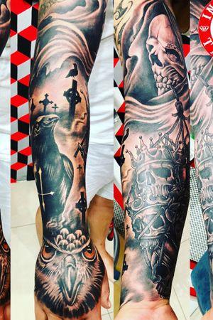 Sleeve tattoo #owltattoo #crowtattoo #skulltattoo #graveyardtattoo #พวกพี่ทำงานไรกัน #วันวันหาแต่เรื่อง #reallife #reallove #inkbless #inkblesstattoo #IB4L #DAWGS #tattoo #tattoos #tattoolife #asianink #brotherhood #inkblessride #ibfamily #pattayaink #pattaya #thaiLAnd