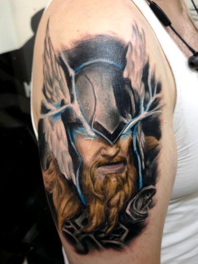 °Thor Oddinson° The God of thunder . . . #tattoo #mithology #thor #asgard #realistictattoos #colortattoos #tattooed #tattooist #tattooer #tattooartist #i ked #i k #tenerife #españa #spain #madrid #barcelona