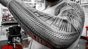 #freehand #samoan #cookisland sleeve addition. Above elbow up not by me.