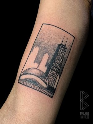 Custom dotwork design of chicago's Bean, Handcock Tower and skyline