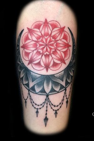 Mandala with decorative accents and color work