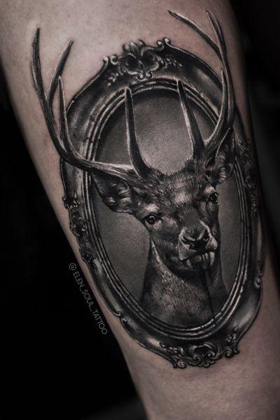#deer #frame #portrait #blackandgray #horror #dark #darkart #realism #realistic #elensoul