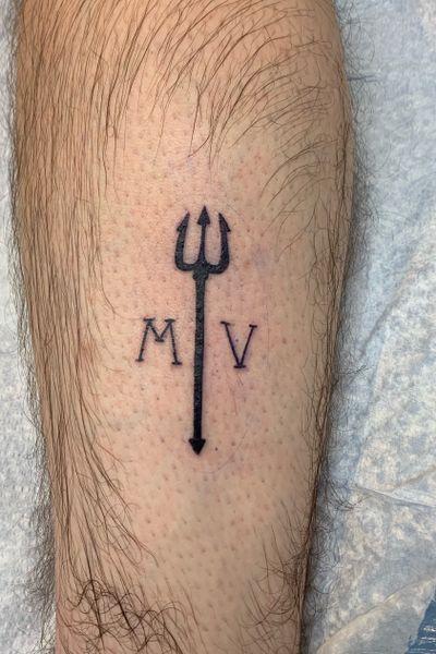 #trident #pitchfork #calf #black #grey #tattoo #Poseidon #devil