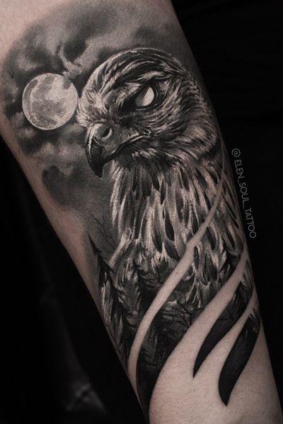 #hawk #blackandgray #horror #moon #darkart #realism #realistic #elensoul