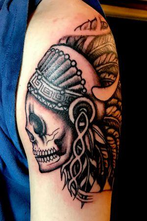 Skull w feather headpiece tattoo by Kimmy Tan. 2017
