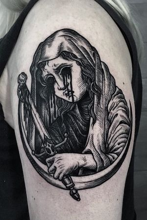 One of my favs! #tattoo #blackwork #blackworkers #etching #gore #black #medieval #betty #athens #greece