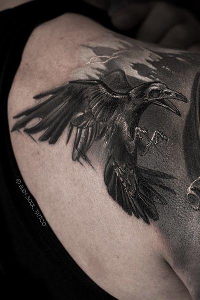 #raven #skull #blackandgray #horror #darkart #blacktattoo #sleeve #realism #realistic #elensoul