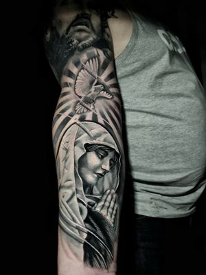 Cover up on the wrist for this religious sleeve