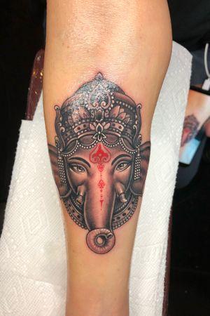 #ganesh #elephant #tattoo #arm #blackngrey #realism