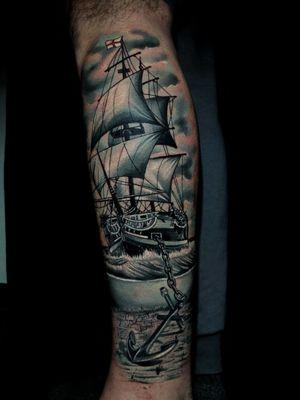 Ship with english flag and anchor