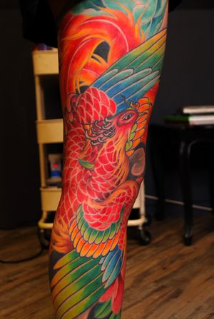 A view of the Japanese phoenix (houou) leg sleve by Sam