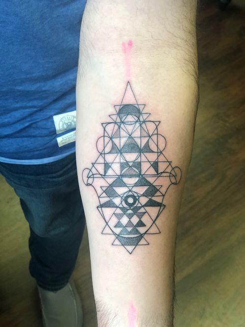 Sacred geometry blackwork fineline hamsa star of david all seeing eye
