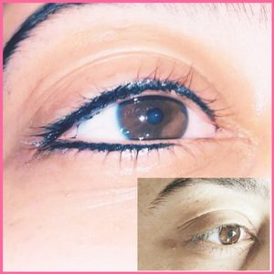 PMU Thin Upper Eyeliner, Thin Half Lower Eyeliner Using Permablend Double Black, Xion S and Atom Critical X