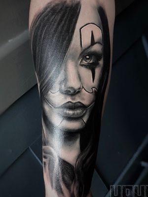 Chicano girl (sorry for the glare on the photo) #tattoos #blackandgrey #realism #tattooartist #portraittattoo