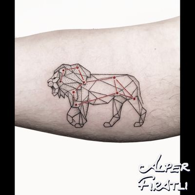 🦁 #leo ... . For personal designs and booking; alperfiratli@gmail.com #geometrictattoo #geometric #colortattoo #colorful #minimal #tattoo #tattooartist #tattooidea #art #tattooart #ink #inked #customtattoo #customdesign #tattooist #dotwork #linework #surreal #surrealism #cubism #abstracttattoo #abstractart #surrealart #lion #liontattoo #animaltattoo #horoscope #constellation #constellationtattoo