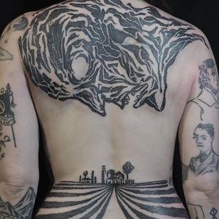 Back piece/cover up by Servadio #servadio #backpiece #illustrative #face #death #landscape #coverup