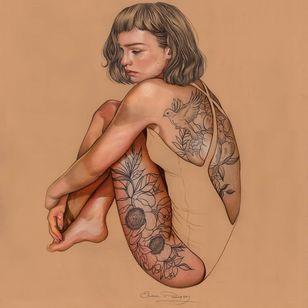 Tattoo art by Elena Pancorbo #ElenaPancorbo #tattooart #fineart #portrait #illustration #tattooidea #painting