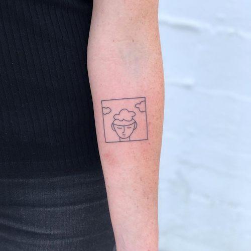 Minimal tattoo by Chinatown Stropky #ChinatownStropky #minimaltattoos #minimal #smalltattoos #small #simpletattoo #simpletattoos #illustrative #linework #dream #cloud #portrait #arm